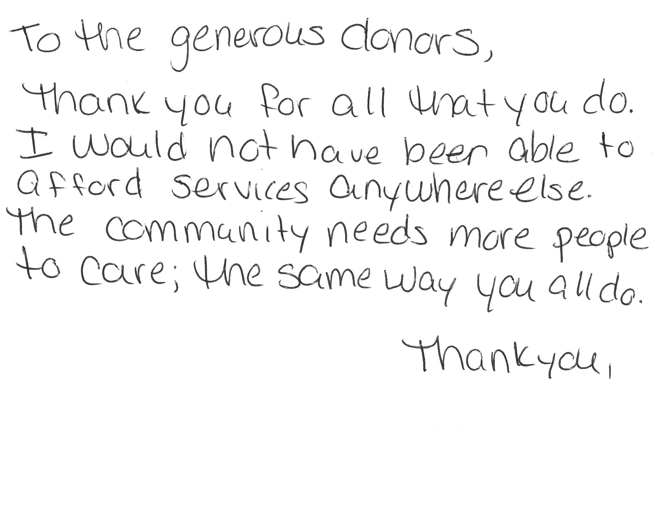 Generous Donors No Name